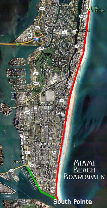 Florida Map Of Beaches.Miami Beach Boardwalk South Beach And Miami Beach Information